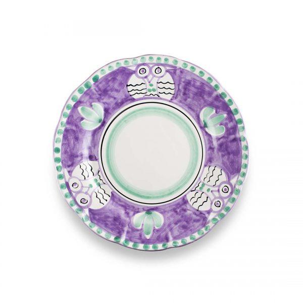 piatto piano decoro zoo civetta lilla ceramica di vietri solimene art