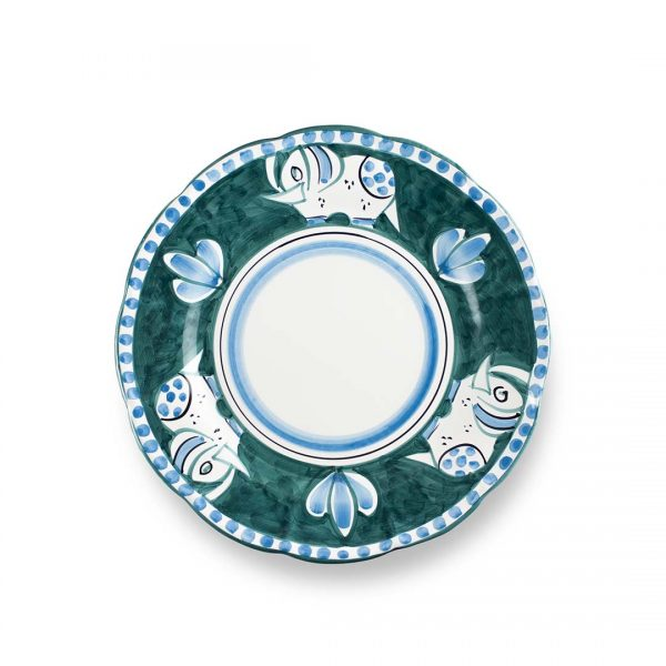 piatto piano decoro zoo elefante verde smeraldo ceramica di vietri solimene art