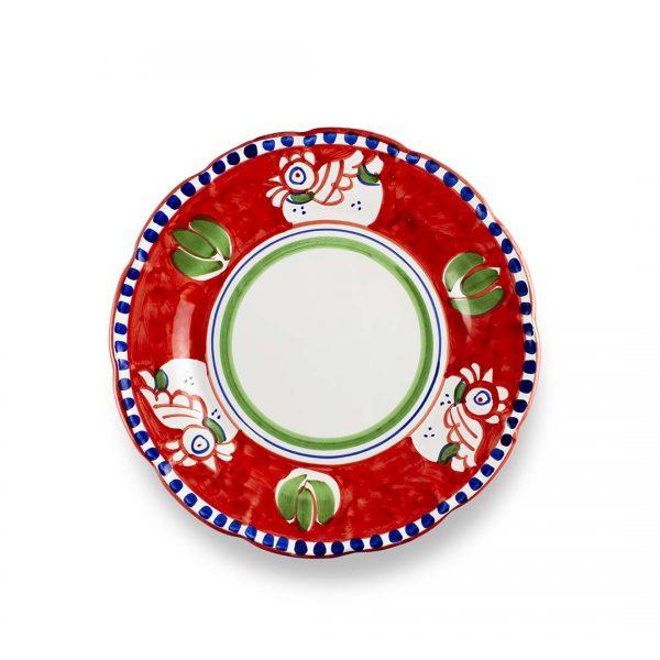 piatto piano decoro zoo gallina rosso forte ceramica di vietri solimene art