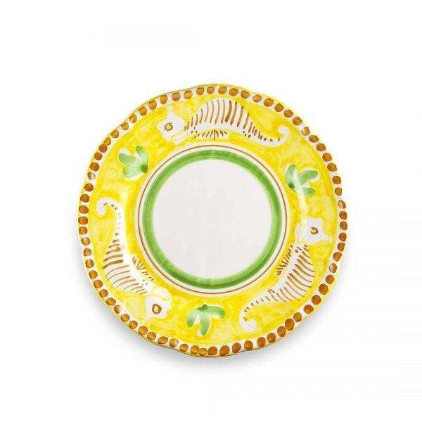 piatto piano decoro zoo ippocampo giallo limone ceramica di vietri solimene art