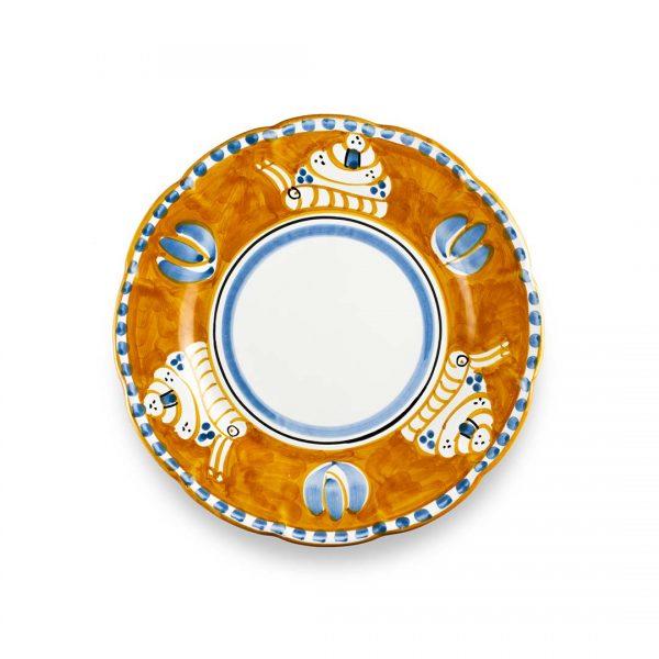 piatto piano decoro zoo lumaca arancio ceramica di vietri solimene art