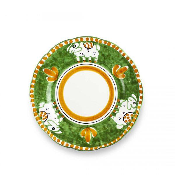 piatto piano decoro zoo pecora verde ceramica di vietri solimene art