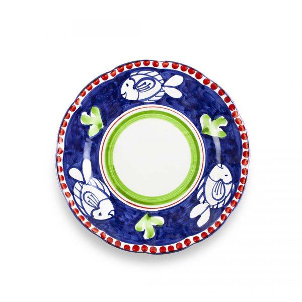 piatto piano decoro zoo pesce classico blu ceramica di vietri solimene art