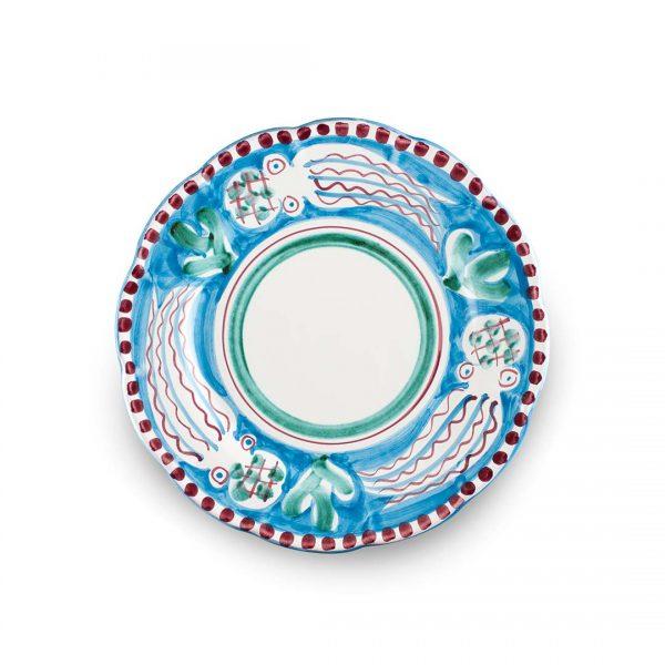 set piatti decoro zoo polipo celeste in ceramica di Vietri Solimene Art
