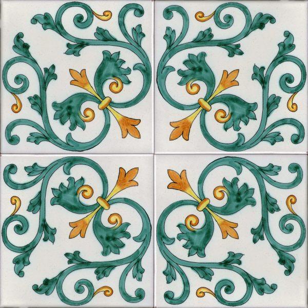 Piastrelle con decoro Albori in ceramica di Vietri Solimene art