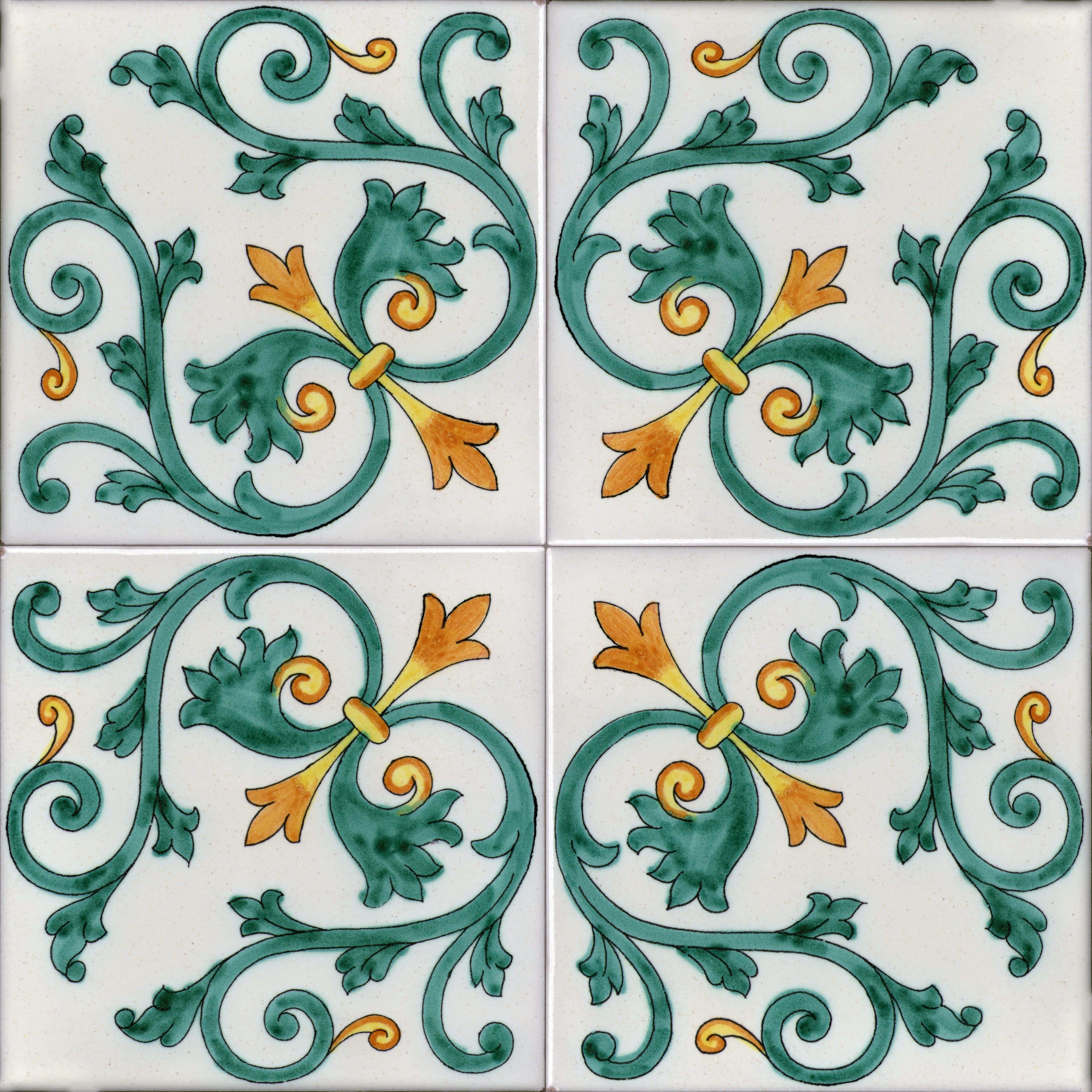 Piastrelle con decoro Albori in ceramica di Vietri > SolimeneArt