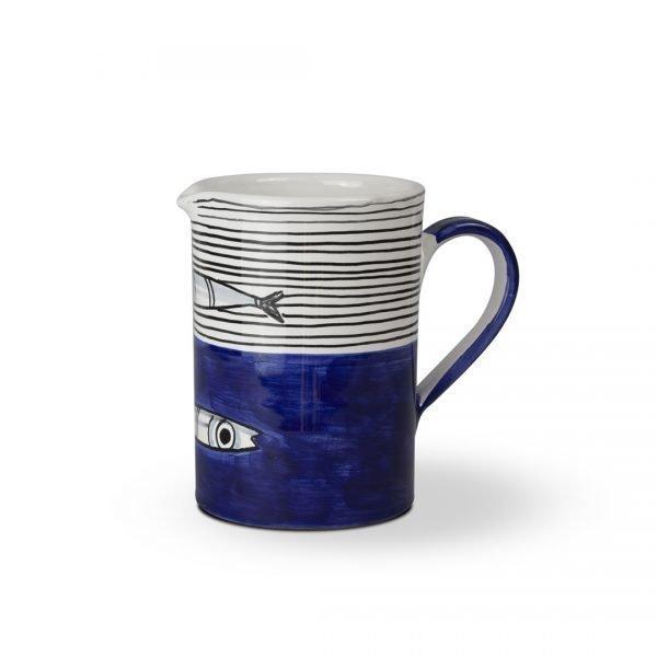 brocca-cilindrica-decoro-alici-blu-fronte ceramica di vietri solimene art