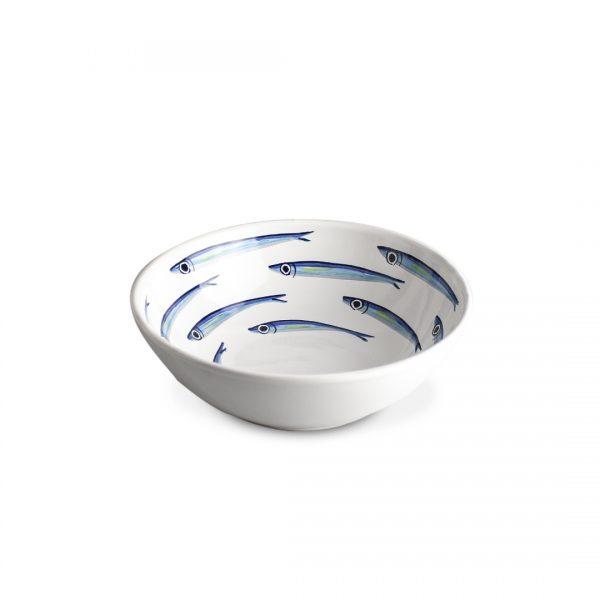 insalatiera alici fondo bianco in ceramica di Vietri Solimene art (2)
