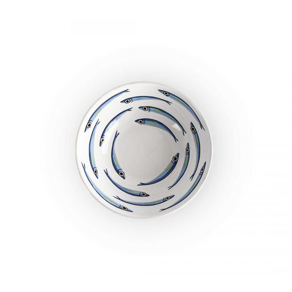 insalatiera alici fondo bianco in ceramica di Vietri Solimene art