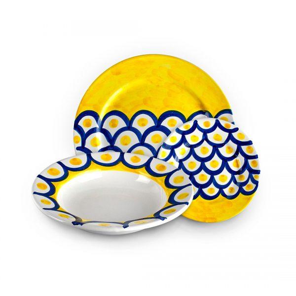 set piatti decoro squame ceramica di vietri solimene art (2)
