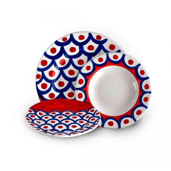 set piatti decoro squame ceramica di vietri solimene art