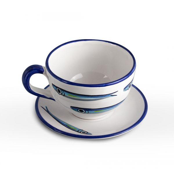 tazza cappuccino alici fondo bianco ceramica di vietri solimene art