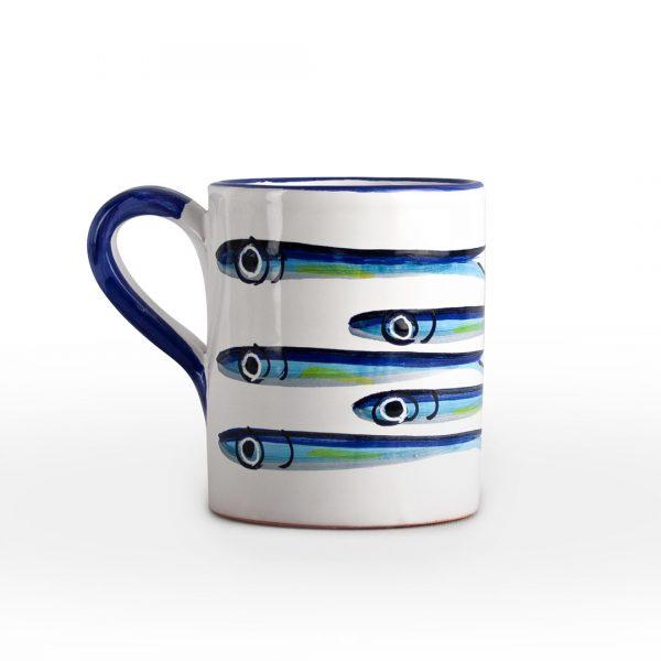 tazza decoro alici ceramica di vietri solimene art