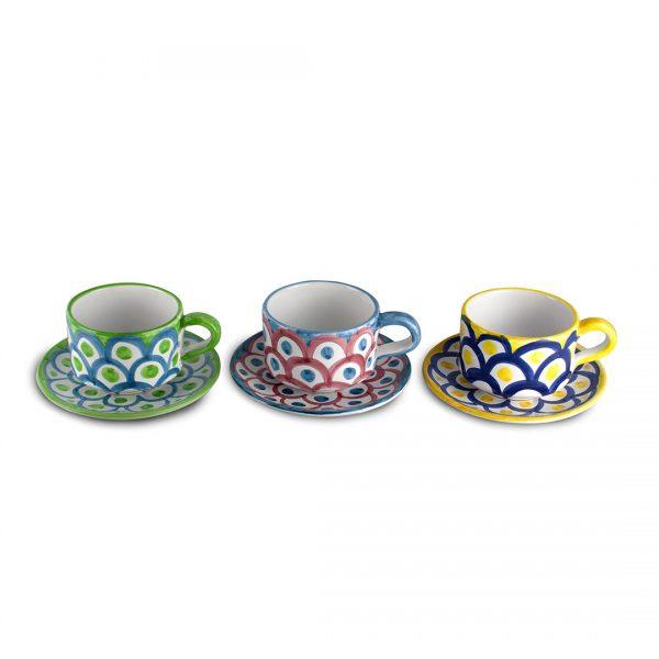 tazza tè decoro squame ceramica di vietri solimene art
