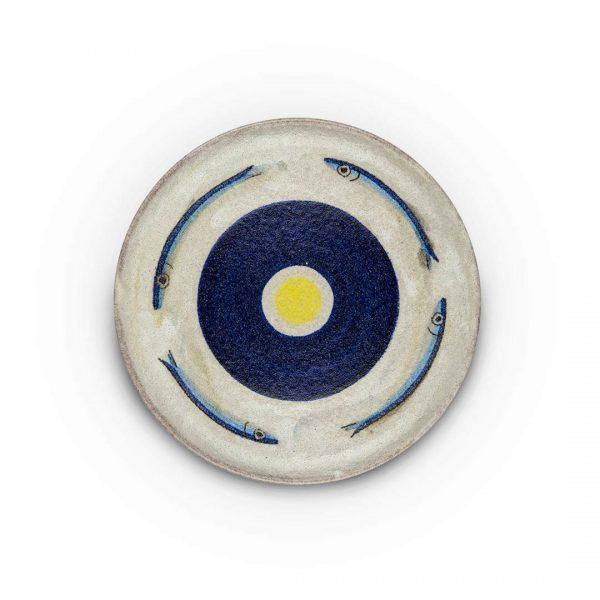 piatto murale decoro alici in ceramica di Vietri Solimene Art