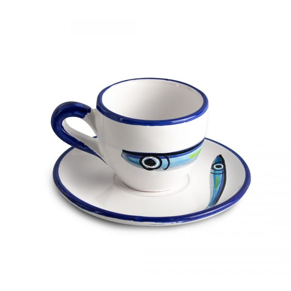 tazza caffè alici fondo bianco ceramica di vietri solimene art