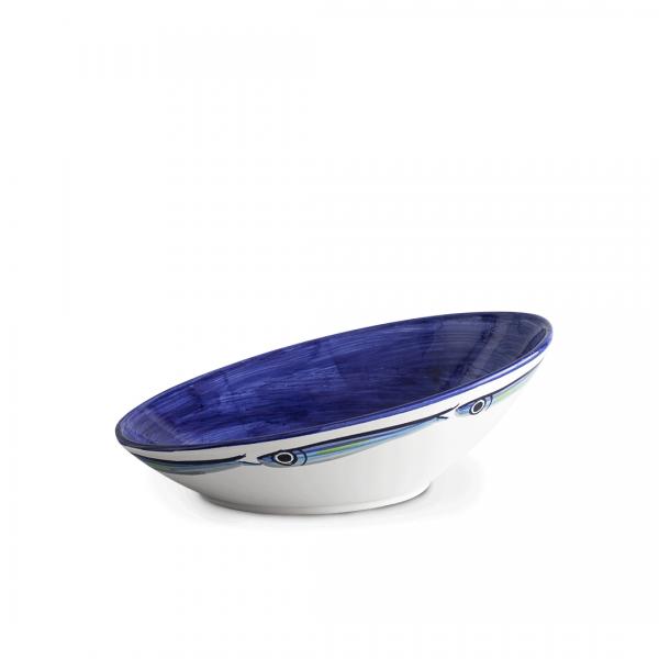 coppa gobba alici sfondo blu in ceramica di Vietri Solimene art