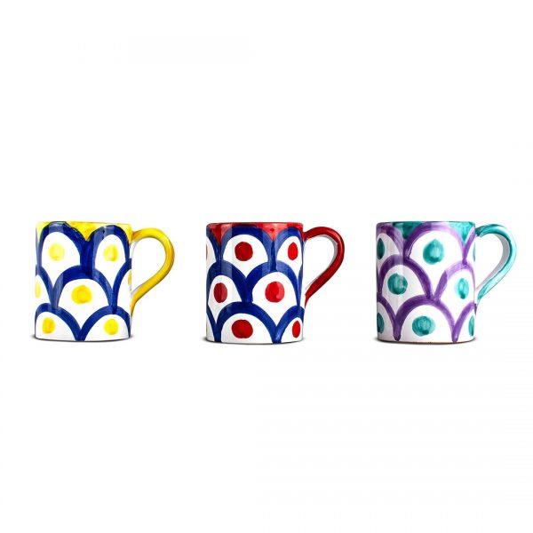 tazza da latte decoro squame ceramica di vietri solimene art