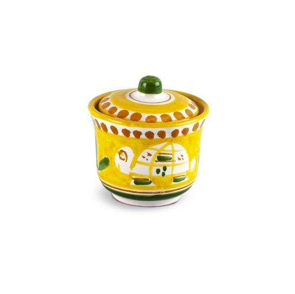 zuccheriera con decoro zoo tartaruga in ceramica di Vietri Solimene art