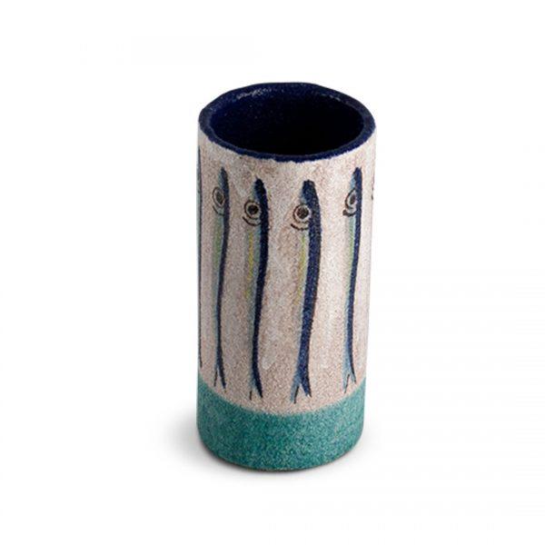 Vaso con decoro Alici in ceramica di Vietri VC 1020 cod.02 solimene art