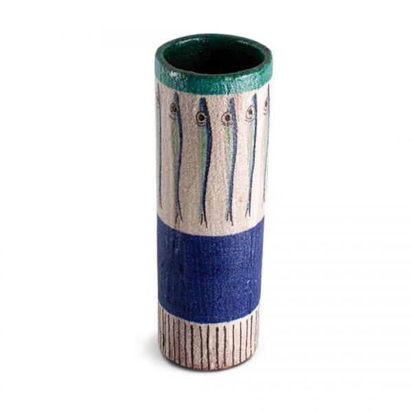 Vaso con decoro Alici in ceramica di Vietri VC 1030 cod.04 solimene art
