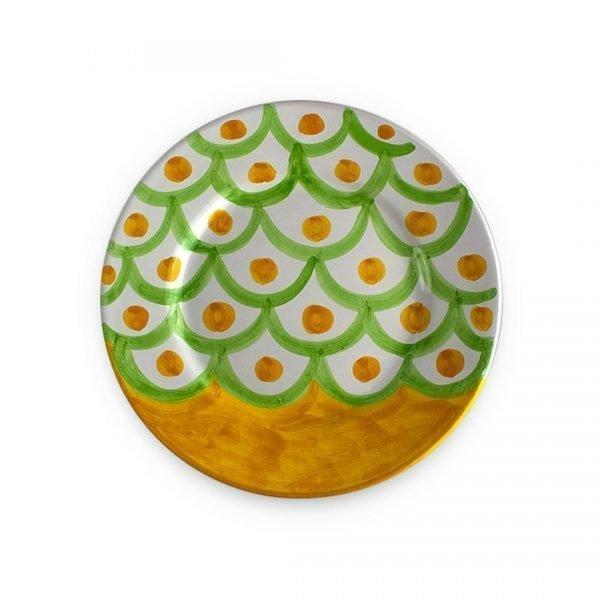 Piatto fondo con decoro Squame in ceramica di Vietri verde chiaro e arancio