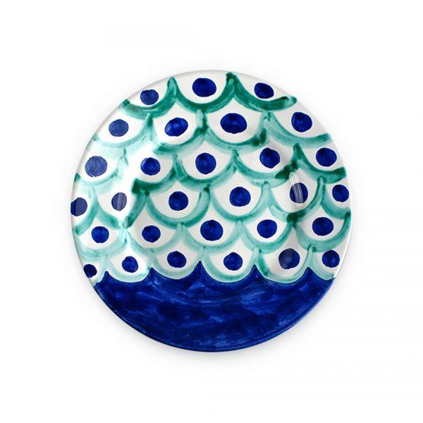 Piatto piano con decoro Squame in ceramica di Vietri blu e verde smeraldo