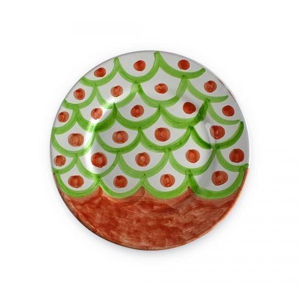 Piatto piano con decoro Squame in ceramica di Vietri rosso vietri e verde chiaro (2)