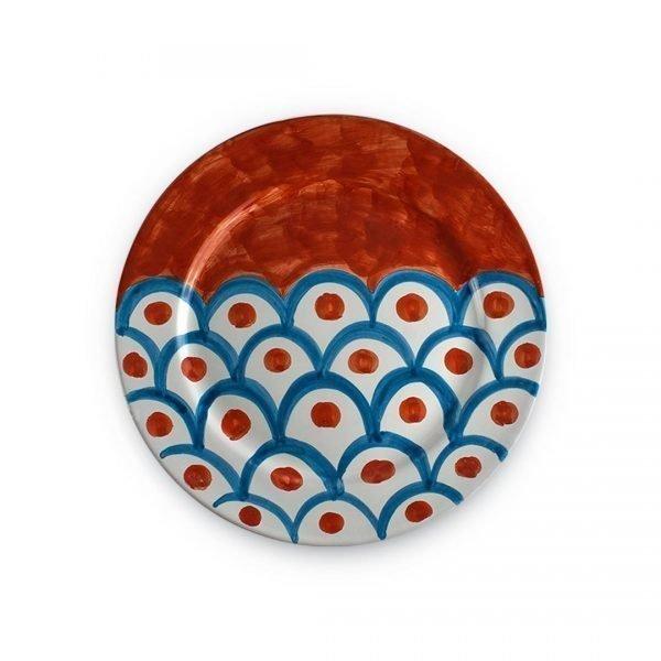 Piatto piano con decoro Squame in ceramica di Vietri rosso vietri e verde smeraldo (3)