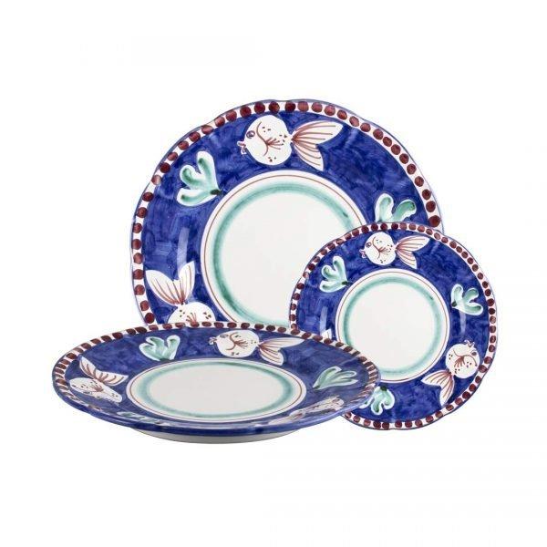 SET-PESCE-PALLA solimne art piatti in ceramica di vietri vietrese