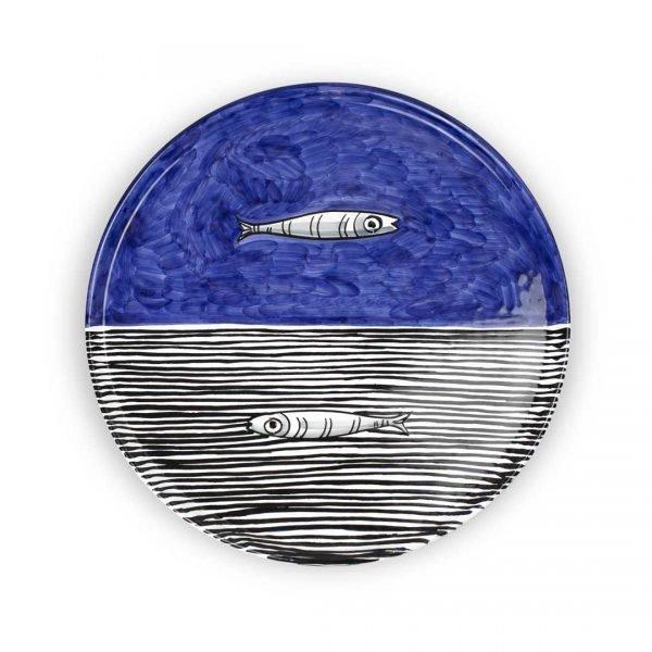 piatto-portata-cm-33-dec-alici-blu-dondo blu ceramica di vietri