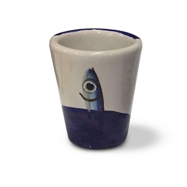 bicchierini per limoncello decoro alici in ceramica di vietri