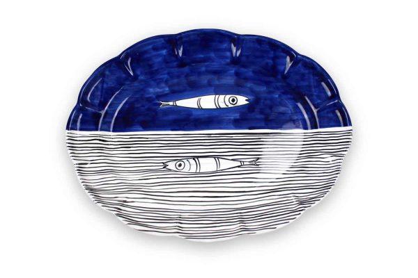 piatto da portata ovale alici, ceramica di vietri